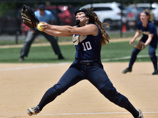 Ramsey's Victoria Sebastian pitches during the game against Dumont at the Bergen County softball tournament semifinals in Overpeck Park on May 21, 2017.