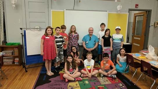 Keith Goldstein, M.D., made a special trip to Hampton Public School to talk about his recent bone marrow transplant.