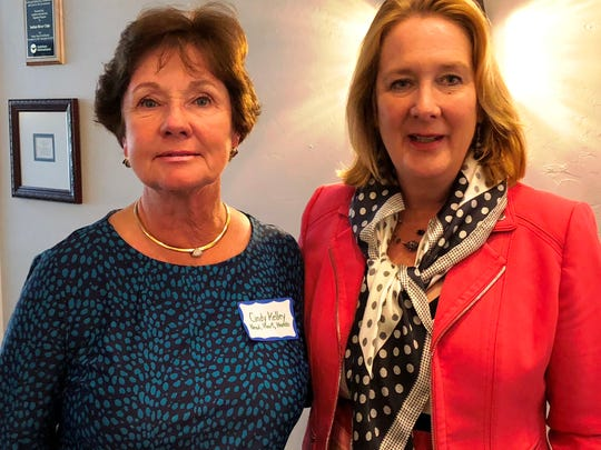 Cindy Kelley, a Head, Heart and Hands grant committee member, with Cynthia Falardeau of Education Foundation of Indian River County.