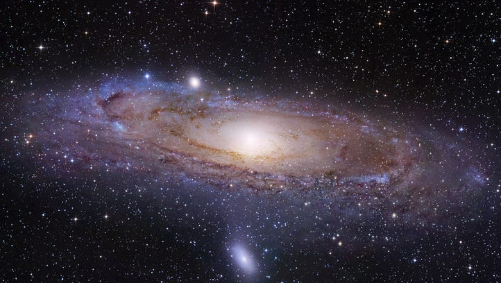 The Andromeda galaxy, made by the Hubble Space Telescope.