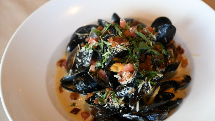 Prince Edward Island Mussels with anisette, bacon,