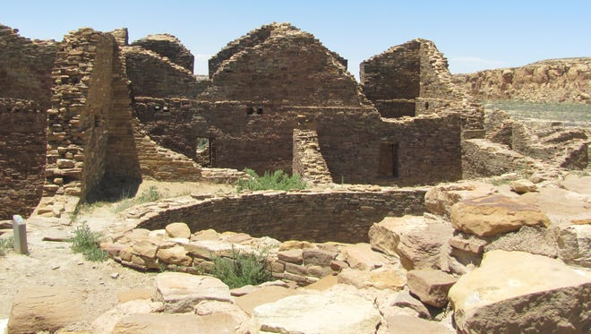 Ancestral Puebloan people settled in villages throughout the Four Corners, such as this one at Chaco Culture National Historical Park, between 500 and 1400.