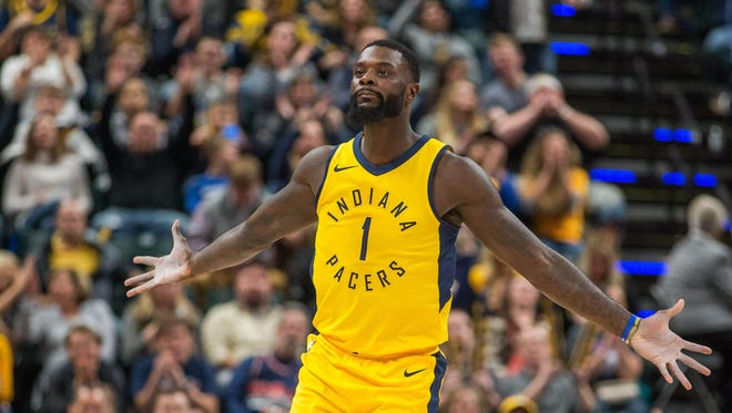 Nov 24, 2017; Indianapolis, IN, USA; Indiana Pacers guard Lance Stephenson (1) celebrates after making a three point basket in the second half against the Toronto Raptors at Bankers Life Fieldhouse.