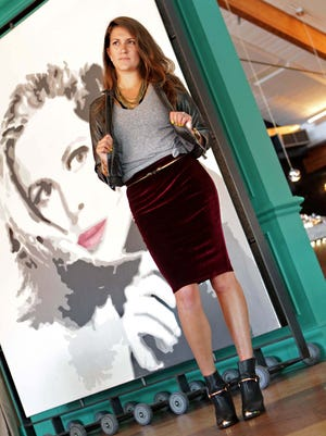 Diane Turner models a Moschino gray cotton v-neck tee from Target, a silence+noise gray vegan leather cropped moto jacket from Urban Outfitters and a Made for LA Gothic Romance burgundy velvet high-waisted skirt from KRMA.