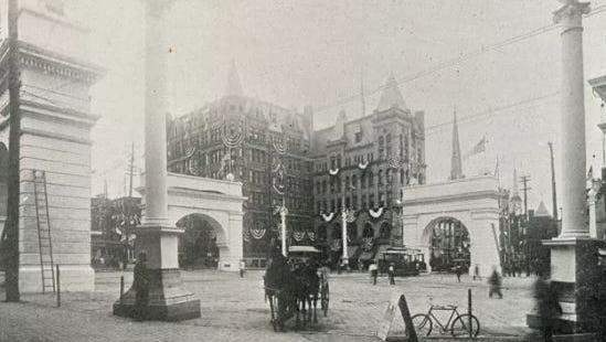 York's Centre Square on the city's 150th anniversary.