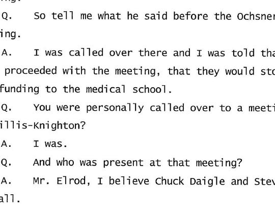 Excerpt from a deposition in which Dr. John Marymont, then the medical school dean at LSU Health Shreveport, said Willis-Knighton CEO Jim Elrod threatened to end Willis-Knighton's financial support of the medical school if it collaborated with a health care company other than Willis-Knighton.