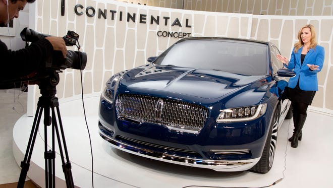 A Lincoln Continental concept car is shown at an event before the New York Auto Show. Ford Motor is resurrecting its storied nameplate.