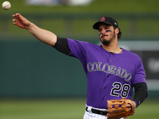 FILE - In this Feb. 23, 2018, file photo, Colorado Rockies' Nolan Arenado throws prior to a spring training exhibition baseball game against the Arizona Diamondbacks, in Scottsdale, Ariz. Arenado is bucking the trend. In the past three seasons, Arenado has played at least 157 games as he's become the star of the Rockies. His durability is what's helped make him one of the elite players in the National League, even if recovery is more difficult playing at elevation. (AP Photo/Ben Margot, File)