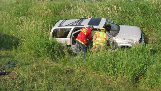 Two people were injured when a vehicle overturned Friday morning, June 10, on Interstate 41 near Lomira in Dodge County. The passenger was transported from the scene by Flight for Life.