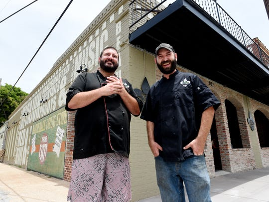 """BeauxJax Crafthouse owners, Beau Hays (right) and Aaron """"Peanut"""" Hanning. Hays is a nominee for Bossier Chamber's Business Person of the Year."""