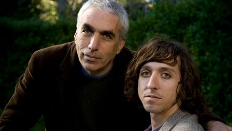 This photo provided by Houghton Mifflin Harcourt  shows, David Sheff, left, and son, Nic Sheff, posing for a photo in California. The father-and-son best-selling authors are teaming up for a young adult book about drug abuse. Houghton Mifflin Harcourt announced Friday, that the Sheffs' book, currently untitled, will come out in the fall of 2016.