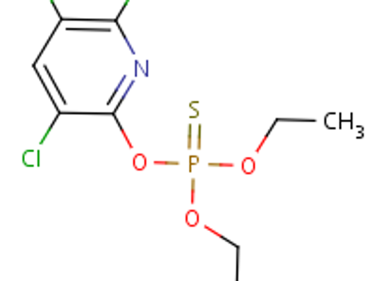 The chemical structure of the pesticide chlorpyrifos.