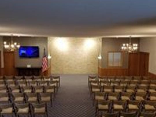 The renovated chapel at Peterson Funeral Home in Indianola includes new carpet, paint and lighting.