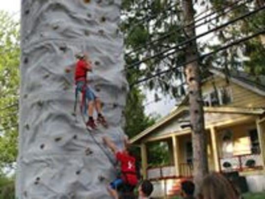 A rock wall is part of the features at the annual National