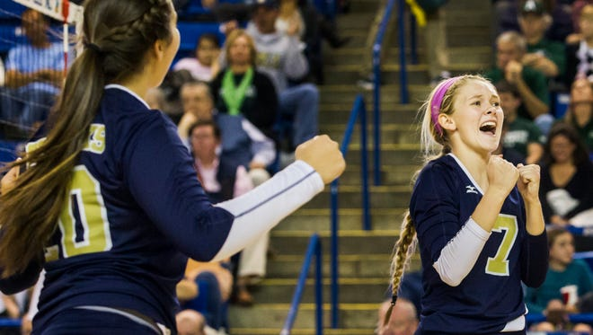 Delaware Military Academy's Sydney Fulton (7) made the All-State girls volleyball first team and was voted the state's Player of the Year.