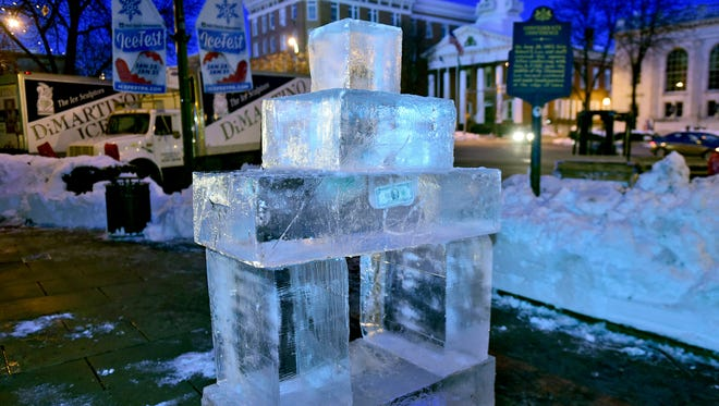 Blocks of ice were set up  in preparation for this weekend's IceFest in Chambersburg. The event starts Thursday and runs through Sunday.