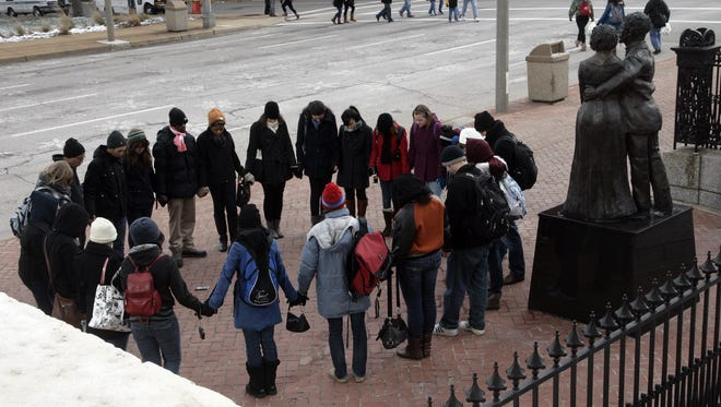 A group of students attending the InterVarsity Christian Fellowship conference in St. Louis in 2012.