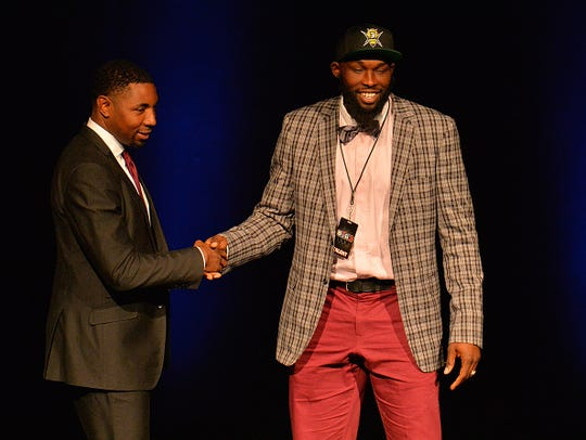 LAS VEGAS, NV - APRIL 30:  Reggie Evans greets BIG3