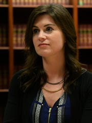 Larissa Boyce speaks to the media in March 2017. Boyce is part of the federal civil case against MSU, Nassar and USA Gymnastics.