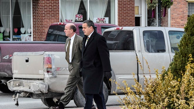 Cal Harris with his defense lawyer Bruce Barket, right, in Schoharie County.