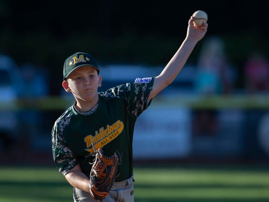 Middletown pitcher Reid Tully. Middletown Little League beats Brick in Section III action to force a playoff game.