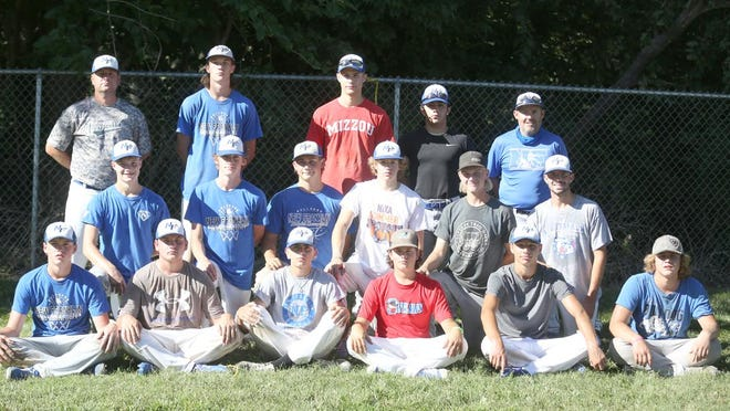 NEW FRANKLIN BASEBALL TEAM (front row, left to right)Connor Wilmsmeyer, Tanner Bishop, Jake Marshall, Sawyer Felten, Drake Clark and Dalton Ivy. (second row, left to right) Owen Armentrout, Clayton Wilmsmeyer, Caleb Hull, Keaton Eads, Bret Thompson and Sam Marshall. (back row, left to right) Assistant coach Jim Triebsch, Tysen Dowell, Colten Collyott, Tony Ortiz and head coach Erich Gerding. Not pictured is Zac Vollrath-Roth.