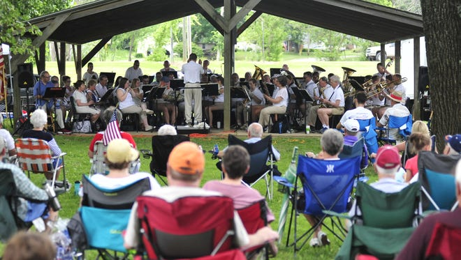 A large crowd watched the AFM Local 159 Concert Band perform during the Pastoral in the Park celebration July 4 in Lexington.