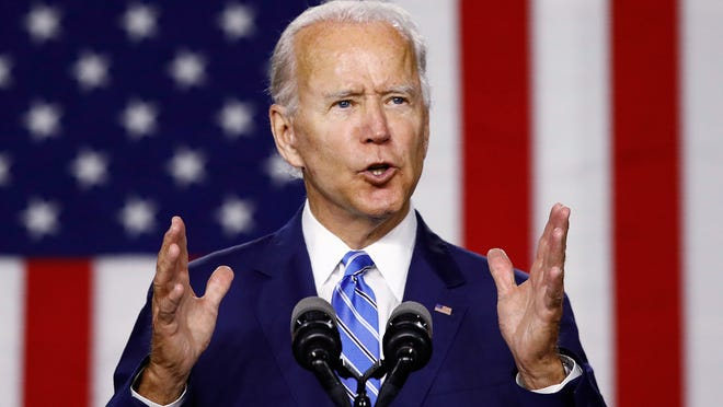 """Presumptive Democratic presidential candidate Joe Biden speaks during a campaign event Tuesday in Wilmington, Del. Florida Democratic Party leaders on Saturday held a """"virtual"""" gala highlighted by an online appearance by Biden, the former vice president."""