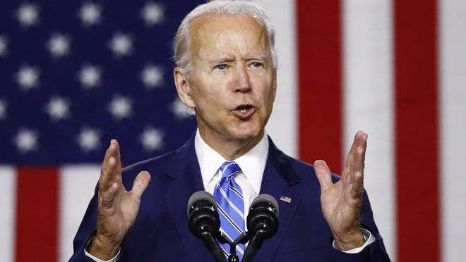 Democratic presidential candidate, former Vice President Joe Biden, speaks during a campaign event, Tuesday, July 14, 2020, in Wilmington, Del.