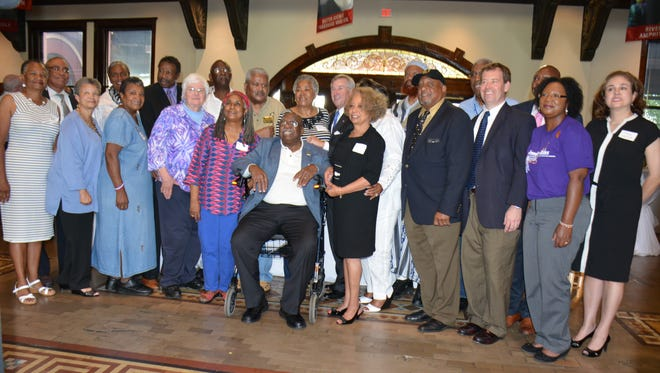During a reception at the Montgomery Visitor's Center, the Friends of the Freedom Rides Museum welcomed those who participated in the Freedom Rides 55 years ago, along with several city guests. Front row, from left:  Delores Boyd, Ann Oldham, Louretta Wimberly, Joan Browning, Jean Thompson, Charles Person, Valda Montgomery, Bernard Lafayette, Sommerville Hill, Dorothy Walker and Clare Watson. Back row, from left: Myron Thompson, Vanzetta McPherson, Bruce Boynton, Alphonso Pettway, Larry Hunter, Dodie Smith, Montgomery Mayor Todd Strange, Ameen Tuugane, Rip Patton and Tracy Larkin.
