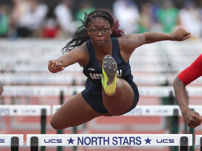 Gates Chili's India Richards in the 100 meter hurdles.
