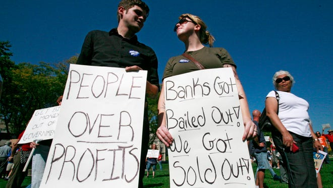 Protesters in Indianapolis in 2011.