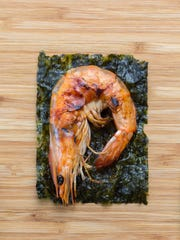 Grilled Shrimp with seaweed.