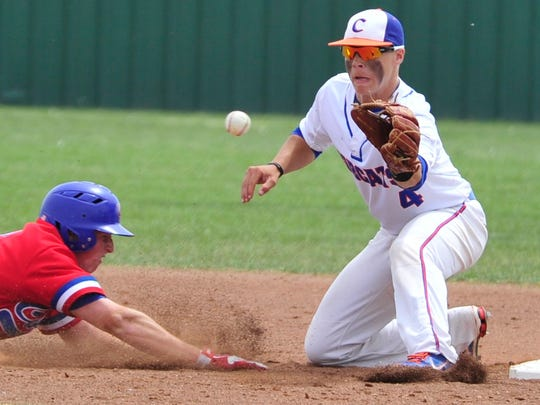Central High School's Mickey Scott ensures an out against Abilene Cooper on March 29, 2013.