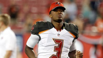 Buccaneers quarterback Jameis Winston addressed a group of fifth graders at a school in St. Petersburg, Fla.