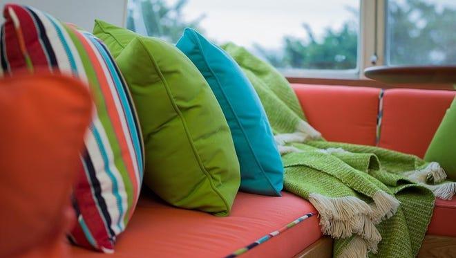 Sunbrella's brilliant colors brighten a trailer in eye-popping, practical style.