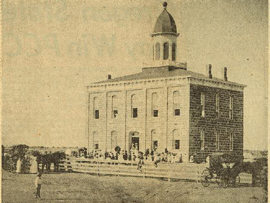Tom Green County's first county seat, Ben Ficklin, erected its second courthouse in February, 1882. It was a $14,000 stone building destined to serve only a few months before the disastrous Ben Ficklin flood destroyed the county seat. The first courthouse had three-rooms and a dirt floor.