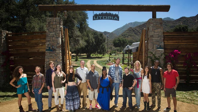 The pioneers of Fox's 'Utopia' are shown at the series start:  Nikki Noce (from left), Red Vanwinkle, Mike Quinn, Hex Vanisles, Dedeker Winston, Jonathan Lovelace, Dave Green, Amanda Scott, Josh Johnston, Rob Hospidor, Bella Chartrand, Bri Nyugen, Aaron Thomas and Chris Tuorto .