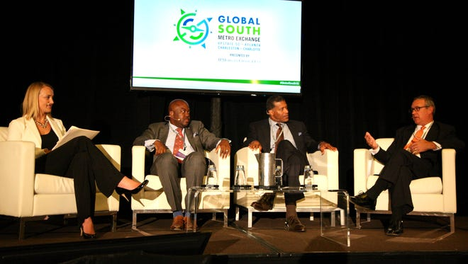 Pamela Gregory, Manager Southeast Region U.S. Chamber of Commerce moderated a discussion on the Free Trade Agreement with (left to right) Dontai Smalls, Cherod Webber and Max Metcalf at the Global South Metro Exchange on 7.21.2016 at the Hyatt Regency Greenville.