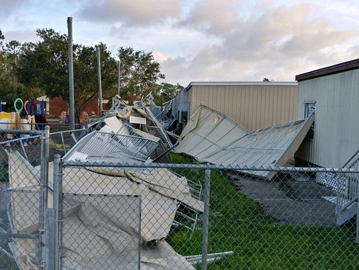 The portables at Three Oaks Middle School took a beating