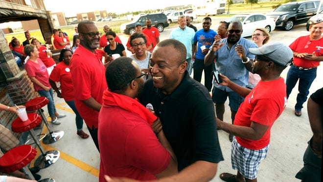 Anthony Williams is congratulated and cheered by supporters after being given the final results of the Abilene mayoral election runoff on Saturday, June 17, 2017. Williams beat Robert Briley 57.4%-42.6% in the runoff for mayor.