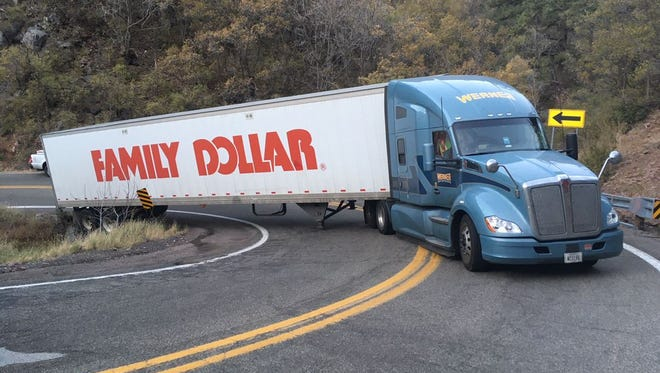 A disabled semitruck closed lanes in both directions on State Route 89A near Jerome, Arizona on the morning of Oct. 25, 2017.