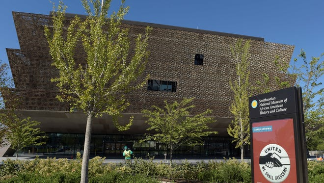 In this Sept. 14, 2016, photo, final preparations are being made for the opening of the National Museum of African American History and Culture in Washington. The museum opens in Washington this Saturday, Sept. 24, 2016, aiming to tell the story of black people in the U.S. through compelling artifacts, yet visitors will find few personal mementos from one of the most famous and influential black Americans, the Rev. Martin Luther King Jr.