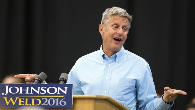 Gary Johnson FILE - In this Sept. 3, 2016 file photo, Libertarian presidential candidate Gary Johnson speaks during a campaign rally in Des Moines, Iowa. Most voters who plan to support third party candidates like Libertarian Gary Johnson and Jill Stein of the Green Party say their minds aren't completely made up about which candidate to support in November, lending an element of unpredictability to the presidential race this fall.  (AP Photo/Scott Morgan, File)