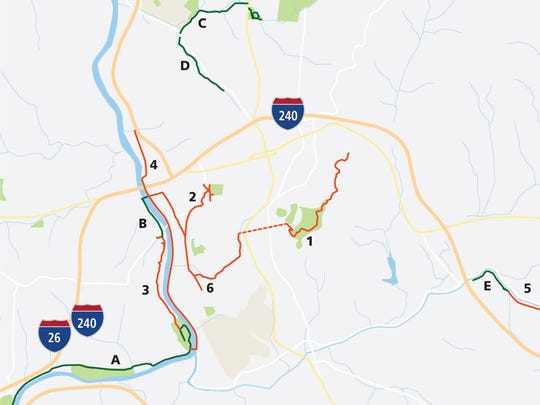 A map of some of the completed, in progress and proposed greenways in the Asheville area.