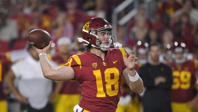Southern California quarterback JT Daniels passes during the first half of an NCAA college football game against Fresno State Saturday, Aug. 31, 2019, in Los Angeles.