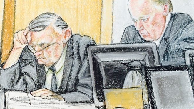This sketch shows Maricopa County Sheriff Joe Arpaio at his civil-contempt hearing on Friday April 24, 2015, in Phoenix.