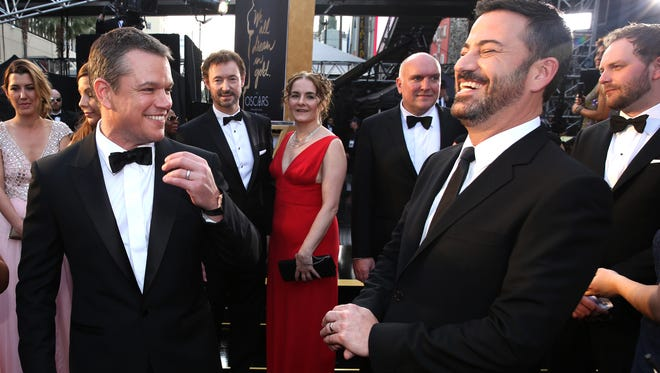 Before Jimmy Kimmel's post-Oscar telecast, he was at the award show itself. Here he shares a laugh with Matt Damon on Sunday, Feb. 28, 2016, at the Dolby Theatre in Los Angeles.