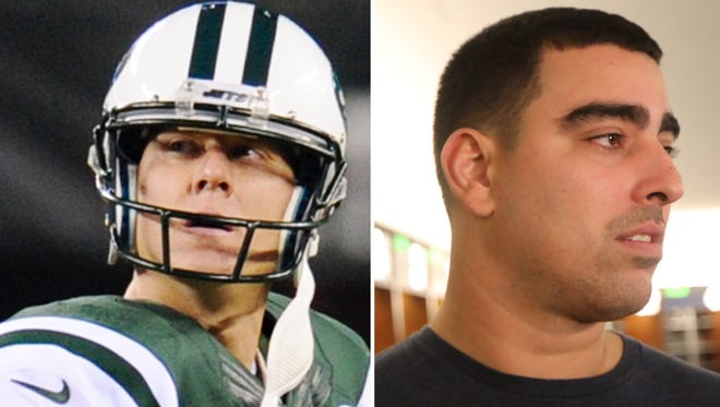 The Jets parted ways with kicker Nick Folk, left, and offensive tackle Breno Giacomini on Thursday.