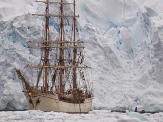 Martin Frey sailed this boat through the sea in Antarctica.